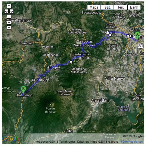 mapa 1 - de guatemala a alotenango