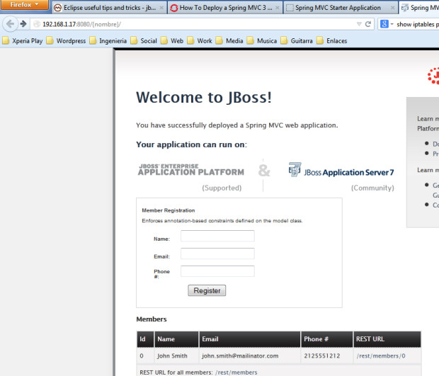 im8-2 - JBoss en servidor externo RHEL 7 y Eclipse Kepler con Spring MVC