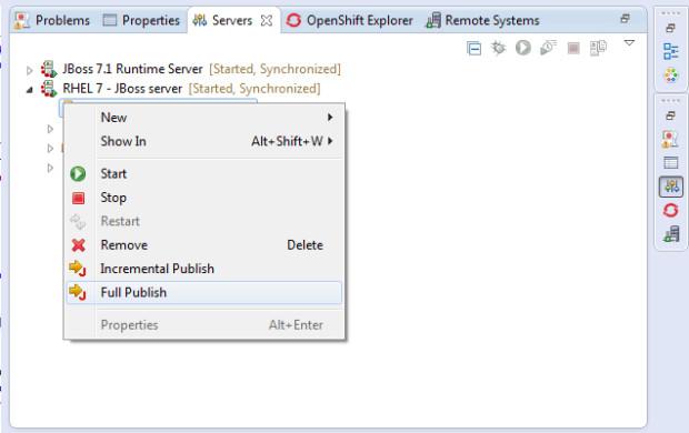 im8-4 - JBoss en servidor externo RHEL 7 y Eclipse Kepler con Spring MVC